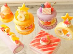 Sweets Deco, Macaron,Strawberry Cake, Food Cabochon, Air Dry Clay, 6pcs, Deco Parts Assortment/ スイーツデコ 6個入り(M284) マカロン、ケーキ、タルト、ロールケーキ他