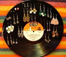 Image for Vinyl LP Record Earring Holder DIY Craft Project..wow very creative