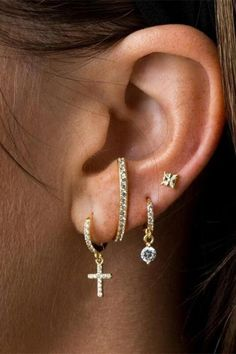 Add some bling to your Sunday's best with these CZ pave cross huggies! You'll be shining so bright our Heavenly Father will be able to see you! All your friends will be asking where you got them!  DETAILS & SIZE  Sold as a pair Composition: Gold option: 14K gold plated sterling silver  Silver option: solid .925 sterling silver; 1mm CZ diamonds Measurements: cross: 10mm, huggie: outer diameter: 11mm, Inner diameter 9mm Open/close hinged closure Raw Crystal Jewelry, Gemstone Jewelry, Ear Jewelry, Jewellery, Cute Piercings, Spring Outfits Women, Kendall Jenner Style, Heavenly Father, Bohemian Jewelry