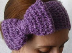 images of free crocheted ear warmer patterns | Crocheted purple bow winter ear warmer. | Crochet - Ear Warmers
