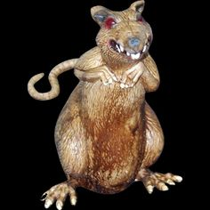 Huge standing creepy rat is a scary haunted house Halloween horror prop decoration! Realistic deluxe latex rodent perfect for any cemetery graveyard, haunt display or mad scientist laboratory. 10-inch Tall x 5-inch Wide (25x12.5cm) figure. http://horror-hall.com/Creepy-Jumbo-DISGUSTING-RAT-Haunted-House-Horror-Prop-Decoration-HH-TB-27032.htm