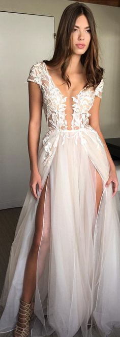 Muse by BERTA bridal sleeveless illusion cap sleeve lace romantic a line wedding dress chapel train -Muse by BERTA Wedding Dresses