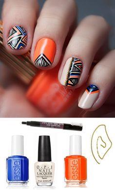Coral + Navy Geometric Nail Art Kit - this is soo cool! Garra, Cute Nails, Pretty Nails, Hair And Nails, My Nails, Nail Art Tool Kit, Geometric Nail Art, Tribal Nails, Sparkle Nails