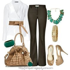 Business casual in brown pants with turquoise accessories