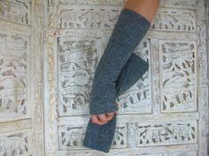 Mittens, Gray Vintage Mittens / Fingerless Gloves, Boiled Wool, Designer Mittens / Arm Warmers by Nana Bugler