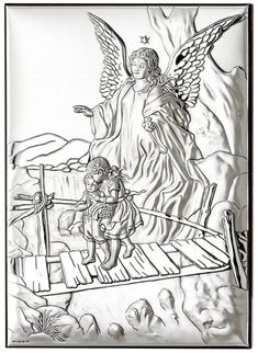 Anioł stróż srebrny Ryngraf chrzest komunia ślub Fabric Painting, Religion, Angels, Emboss, Art, Souvenirs, Painting On Fabric, Angel, Angelfish