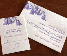 Floral bluebell letterpress wedding invitation design.