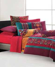 Natori Bedding, Tankga Collection - Bedding Collections - Bed & Bath - Macy's from Macy's. Saved to New room. Flat Sheets, Bed Sheets, Linen Bedding, Bedding Sets, Boho Bedding, Bed Linens, Comforter, Colorful Bedding, Bed Styling