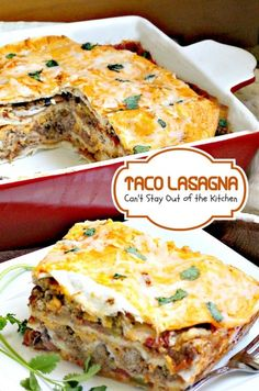 Taco Lasagna | Can't Stay Out of the Kitchen | this wonderful Tex-Mex casserole layers beef and beans with cheese and flour tortillas.