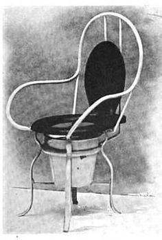 insane asylum steel commode chair with toilet inserted