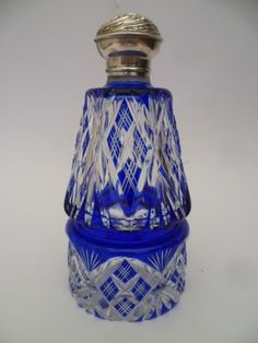 Antique Royal Blue O Lay Perfume Scent Cologne Bottle s Silver Lid Dated 1904 | eBay