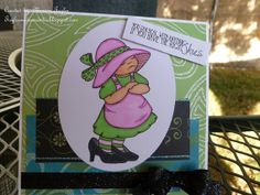 Handmade Card perfect for birthday or just thinking of you - Pouty little girl