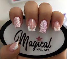 Nail Designs Bling, Square Nail Designs, Acrylic Nail Designs, Pink Acrylic Nails, Shellac Nails, Nail Swag, French Nails, Bridal Nail Art, Rose Nails