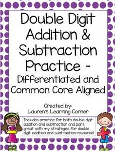 In need of differentiated math practice? This set of printables include math fact practice for double digit addition and subtraction at a discounted price!!This set is designed for second grade but would work well for first graders who are exceeding grade level expectations or for third graders who are not yet meeting grade level expectations or struggling with certain skills.