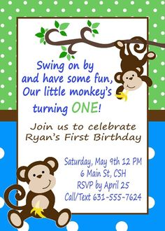Monkey birthday invitation monkey birthday party invitation monkey birthday invitation filmwisefo Image collections