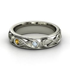Infinite Love Ring, 14K White Gold Ring with Citrine & Aquamarine from Gemvara. My husband & my symbol for the jewelry he gives me is an infinity symbol