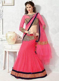 #Blissful #pink #net #fishcut #lehenga #choli