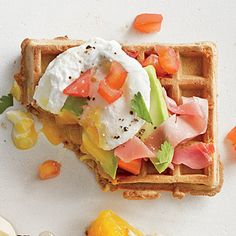 Green, Egg, and Ham Waffle - 250-Calorie Waffle Toppings - Cooking Light