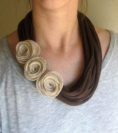 Mocha Felt Rose T-Shirt Scarf Necklace by swirlsisters on Etsy