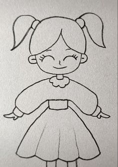 cartoon coloring pages Girl Drawing Easy Art Drawings Sketches Simple, Girl Drawing Sketches, Easy Cartoon Drawings, Girly Drawings, Easy Drawings For Kids, Cartoon Girl Drawing, Pencil Art Drawings, Princess Drawings, Drawings Of Cartoon Characters