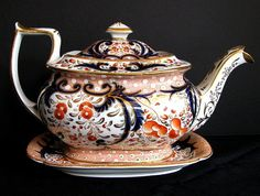 Coalport Teapot & Stand, John Rose, Antique, Early 19th C English