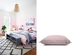 Pink bedroom and giant floor cushion from 'Product & Place' - inspiring interiors, matched with the Lujo pieces we'd love to see living there!  See them all here: http://www.lujo.co.nz/blogs/lujo-inspiration-blog/14296609-product-place