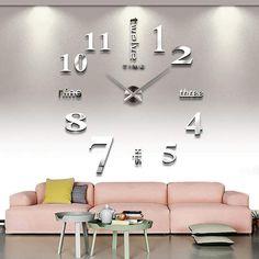 Wall Clock Kits, Big Wall Clocks, Wall Clock Sticker, Mirror Wall Clock, Diy Clock, Mirror Wall Stickers, 3d Mirror, Acrylic Mirror, Metal Mirror