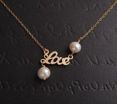 Double Pearl LOVE GOLD FILLED Necklace by DanglingJewelry on Etsy, $26.00