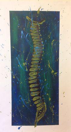 Art, spine, acrylic, sharpie, splatter, blue, green
