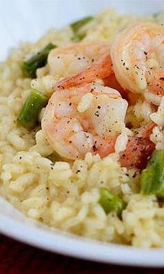 Simple Shrimp and Asparagus Risotto Recipe Asparagus Risotto Recipe, Shrimp Risotto, Shrimp And Asparagus, Risotto Recipes, Grilled Shrimp Recipes, Shrimp Recipes Easy, Seafood Recipes, Cooking Recipes, No Calorie Foods