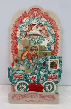 Victorian Vintage Valentine, Car With Forget-Me-Nots, Fold Down.