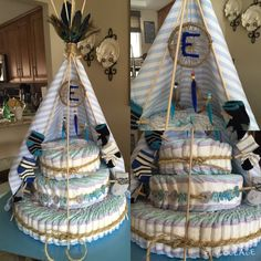 Tee-pee Diaper Cake. #babyshower #babyboy
