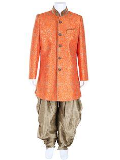 G3 Exclusive Orange Wedding Wear Raw Silk Boys Indo Western