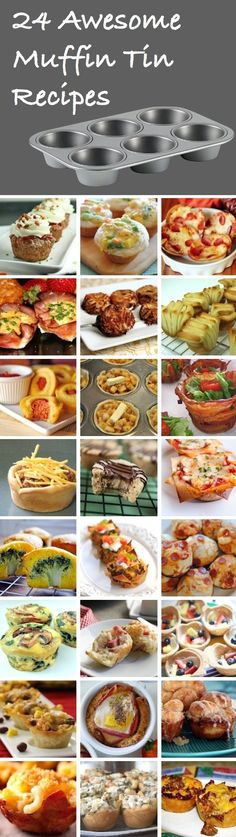 24 Awesome Muffin Tin Recipes: Meatloaf Cupcakes, Chicken Pot Pies, Deep Dish Pizzas, Ham & Egg Cups, Hash Brown Bites, Buttermilk PullApart Biscuits, Corn Dog Muffins, Apple Pies, Bacon Bowls, Sloppy Joe Cups, Peanut Butter Cookie Bites, Mini Lasagnas, Broccoli Cheese Cakes, Taco Bites, Stuffed Pizza Muffins, Spinach Egg Cups, Ham & Swiss Muffins, Sugar Cookie Cups, Fiesta Chicken Bites, Breakfast Cups, Cinnamon Monkey Rolls, Macaroni Prosciutto Bites, Spinach Artichoke Bites, Cheeseburger Cups