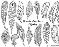Big Set of Hand Drawn Feathers Clipart Digital Feathers clip Doodle Sketch, Doodle Drawings, Doodle Art, Doodle Frames, Art Floral, Feather Clip Art, Feather Drawing, Watercolor Flower, Flower Doodles