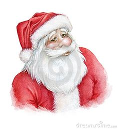 Hand drawn watercolor iillustration of Santa Claus smiling face