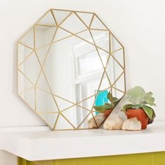 Gold gem mirror DIY (+ easy glass cutting technique!)
