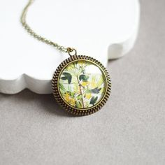 Floral Motifs // Round pendant metal brass with the by OhKsushop