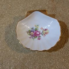 Hand Painted Porcelain Shell Shaped Dish with Makers Mark by ThenThereWas on Etsy