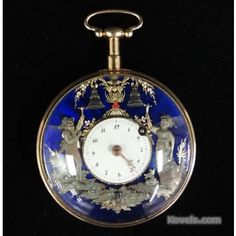 """Liberace's watch presented to him by his furrier, Anne Nateece. 18K Continental quarter-hour repeating """"Jacquemarts"""" (standing figures) automaton with fusee and unusual plate layout. Made in France or Switzerland circa 1820."""