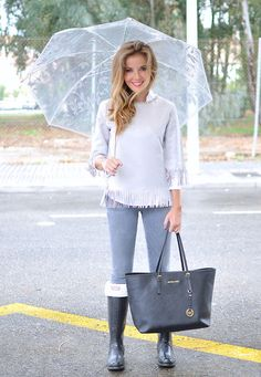 1.  Tops - Navy dainty long sleeve; navy & white polka dot button up (also pair w/mint green sweater); mint green sweater & nice collar 2. Bottoms - Grey jeans; dark wash, distressed  3.  Navy Hunters  Get this look: http://lb.nu/look/7882286  More looks by LOLA C: http://lb.nu/tecuentomistrucos  Items in this look:  Shein Top, Michael Kors Bag, Hunter Boots   #chic #tecuentomistrucos #michaelkors #umbrella #grey #tassel #hunter #boots #rain