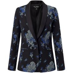 Miss Selfridge Rose Jacquard Blazer, Multi (£65) ❤ liked on Polyvore featuring outerwear, jackets, blazers, floral jacket, one-button blazer, blazer jacket, flower print blazer and lightweight blazer