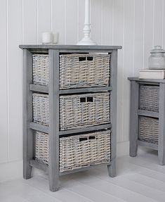 St Ives Grey Basket Storage furniture with three baskets for living room and bedroom Furniture - Bathroom, Living Room, Bedroom and Hallway Furniture for beautiful homes. Painting Wicker Furniture, Cane Furniture, Refurbished Furniture, Furniture Ideas, Whitewash Furniture, Furniture Storage, Bedroom Furniture Makeover, Hallway Furniture, Bathroom Furniture