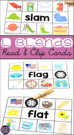 These L Blends Read & Clip Card activities are perfect for my beginning readers! I use them for word work centers, early finishers, and my morning tubs! Students simply read the word on each card and use a clothespin to clip the picture that matches the w Teaching Vocabulary, Teaching Phonics, Teaching Kindergarten, Word Work Games, Word Work Centers, Teaching First Grade, First Grade Teachers, Language Activities, Learning Activities