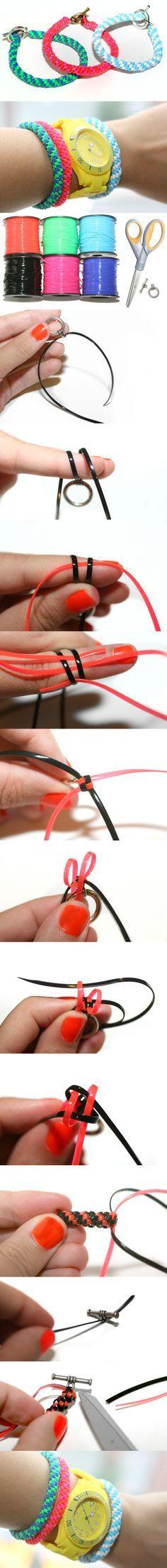 Lacing cord, (boondoggle) bracelet diy