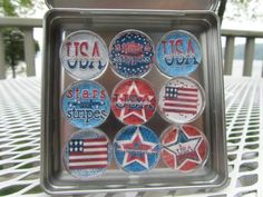 July 4 USA Pride Patriotic Magnets Set of by UpNorthKnitsAndGifts, $18.00
