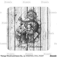 Vintage Wood Look Santa Claus Drink Coaster