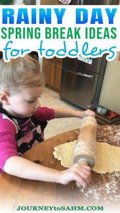 Spring break can get stressful. The kids are all home for a week. The weather is getting warmer, so you want them outside, but then it rains. So what can you do with a toddler on a rainy day? It seems like toddlers and preschoolers get bored within minutes of the same thing and need constant attention. Here are 30 spring break ideas for a rainy day to make that week at home much more memorable and entertaining. | @journeytoSAHM #toddlerrainydayfun Educational Activities For Toddlers, Activities For 2 Year Olds, Indoor Activities For Kids, Parenting Toddlers, Infant Activities, Parenting Hacks, Baby Sensory Ideas 3 Months, Daughters, Sons