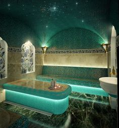 I love the spa feels and turquoise and green tiles mixed with beige. Great lighting too. Bathtub Decor, Bathroom Spa, Spa Design, Salon Interior Design, Bathroom Interior Design, Shower Cabin, Sauna Room, Steam Spa, Steam Bath