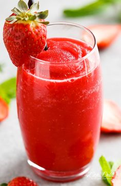 Strawberry Rosé Slushies is THE best way to BEAT THE HEAT! If you love a great drink, this 2-ingredient slushy is for you!